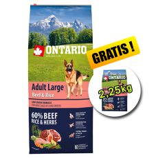ONTARIO Adult Large Beef & Rice 12 kg + 2,25 kg ZA DARMO
