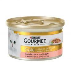 Konserwa Gourmet GOLD - kawałki łososia i mięsa z kurczaka w marynacie, 85g