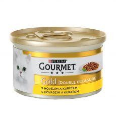 Konserwa Gourmet GOLD - grilowana i duszona wołowina i kawałki mięsa z kurczaka, 85g