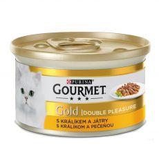 Konserwa Gourmet GOLD - grilowane i duszone mięso z królika z wątrobą, 85g
