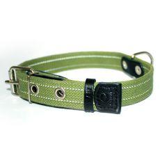 Bawełniana obroża odblaskowa - 51 - 63cm, 35mm - zielona