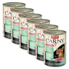 CARNY KITTEN karma dla kota - wołowina, królik i kurczak 6 x 400 g