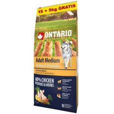 ONTARIO Adult Medium - chicken & potatoes 15+5kg ZA DARMO