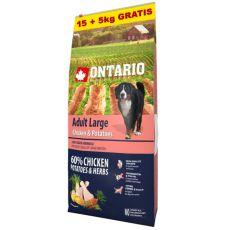 ONTARIO Adult Large - chicken & potatoes 15+5kg ZA DARMO