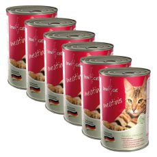 BEWI CAT Meatinis WILD - 6 x 400g, 5+1 GRATIS