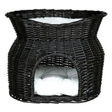 Legowisko dla psów i kotów, pleciona jaskinia - czarne
