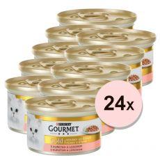 Konserwa Gourmet GOLD - kawałki łososia i mięsa z kurczaka w marynacie 24 x 85g