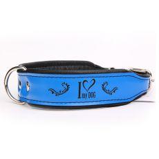 Skórzana obroża I love my dog, niebiesko - czarna  4 cm x 34 - 42 cm