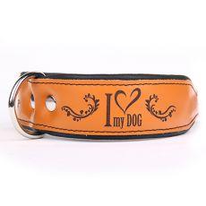 Skórzana obroża I love my dog, brązowo - czarna 4 cm x 38 - 46 cm