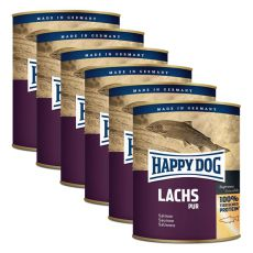 Happy Dog Pur - Lachs 6 x 750 g / łosoś, 5+1 GRATIS