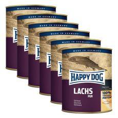 Happy Dog Pur - Lachs 6 x 800 g / łosoś, 5+1 GRATIS