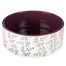 Ceramiczna miska dla psa, biało - purpurowa 1,4 L