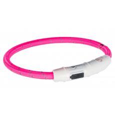 Świecąca obroża LED M-L, różowa 45 cm