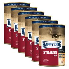 Happy Dog Pur - Strauss / struś, 6 x 400g, 5+1 GRATIS