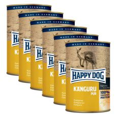 Happy Dog Pur - Kangaroo / kangur, 6 x 400g, 5+1 GRATIS