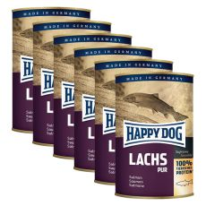 Happy Dog Pur - Lachs 6 x 375 g / łosoś, 5+1 GRATIS