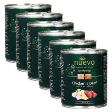 Konserwa NUEVO DOG Junior Chicken & Beef 6 x 800 g, 5 + 1 GRATIS