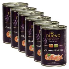 Konserwa NUEVO CAT Adult Chicken & Shrimps 6 x 400 g, 5 + 1 GRATIS