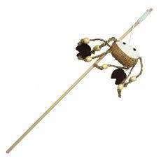Zabawka dla kota - krab na drewnianym kijku.
