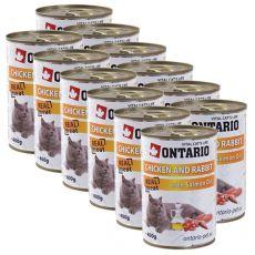 Konserwa ONTARIO dla kotów – kurczak, królik, olej - 12 x 400 g