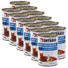 Konserwa ONTARIO dla kotów – wołowina, łosoś, olej  -12 x 400 g