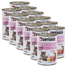 Konserwa ONTARIO dla kotów – kurczak, rak, ryż, olej - 12 x 400 g