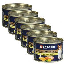 Konserwa ONTARIO z cielęciną, słodkimi ziemniakami i olejem lnianym – 6 x 200g