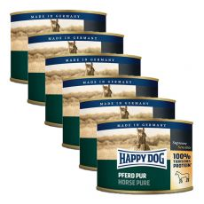 Happy Dog Pur - Pferd / koń, 6 x 200g, 5+1 GRATIS