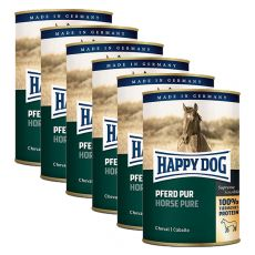 Happy Dog Pur - Pferd / koń, 6 x 400g, 5+1 GRATIS
