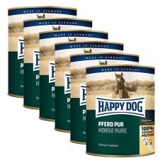 Happy Dog Pur - Pferd / koń, 6 x 800g, 5+1 GRATIS