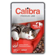CALIBRA Cat Adult kawałki kurczaka i wołowiny w sosie 100 g