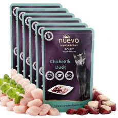 Saszetka NUEVO CAT Adult Chicken & Duck 6 x 85 g, 5 + 1 GRATIS