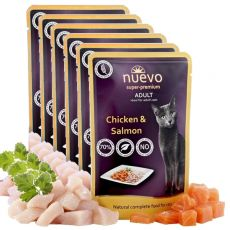 Saszetka NUEVO CAT Adult Chicken & Salmon 6 x 85 g, 5 + 1 GRATIS
