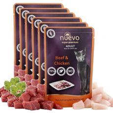 Saszetka NUEVO CAT Adult Beef & Chicken 6 x 85 g, 5 + 1 GRATIS