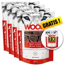 WOOLF Beef Sushi with Cod 5 x 100g, 4+1 GRATIS