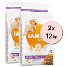 Iams Dog Puppy Large Breed, Chicken 2 x 12 kg