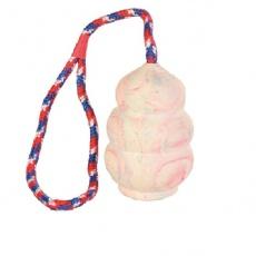 Gumowy granat na sznurku, mały - zabawka dla psa - 8 cm