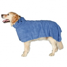 Szlafrok dla psa - niebieski - 50cm