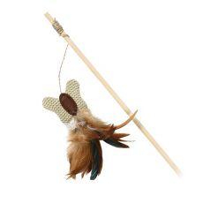 Zabawka dla kotów - drewniany pręt z motylkiem