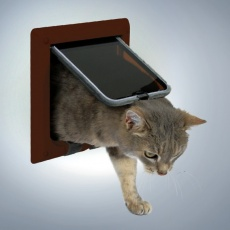 Drzwiczki dla kota, czterofunkcyjne - brązowe