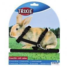 Szelki ze smyczą dla królików z plastikowym zapięciem w czarnym kolorze