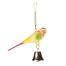 Zabawka dla ptaków - papuga falista z dzwoneczkiem - 9 cm