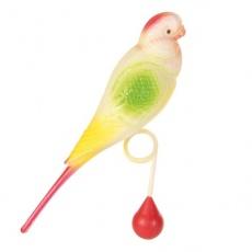Zabawka dla ptaków - papuga falista z kuleczką, 15 cm