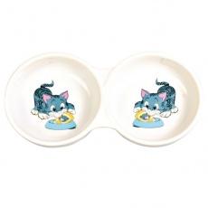 Podwójna miseczka dla kota, ceramiczna - 150 ml