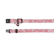 Obroża dla kota, różowa - czaszki - 15 - 20 cm
