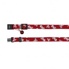 Obroża dla kota, czerwona - czaszki - 15 - 20 cm