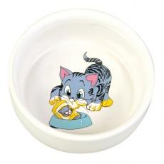 Miseczka dla kota z rysunkiem, ceramiczna - 0,3 l