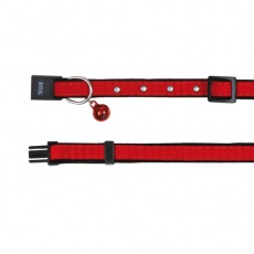 Zamszowa obroża dla kota, czerwona - 18 - 30 cm