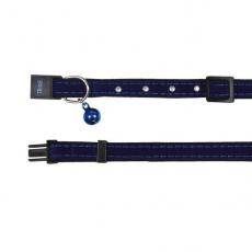 Zamszowa obroża dla kota, niebieska - 18 - 30 cm