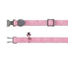 Różowa obroża dla kota z brokatem - 18 - 30 cm